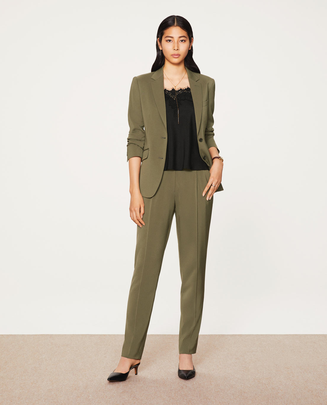 COMFORT TAILORED JACKET・TAPERED PANTS: 5447 / WASHABLE / STRETCH / SILKY TOUCH / KHAKI