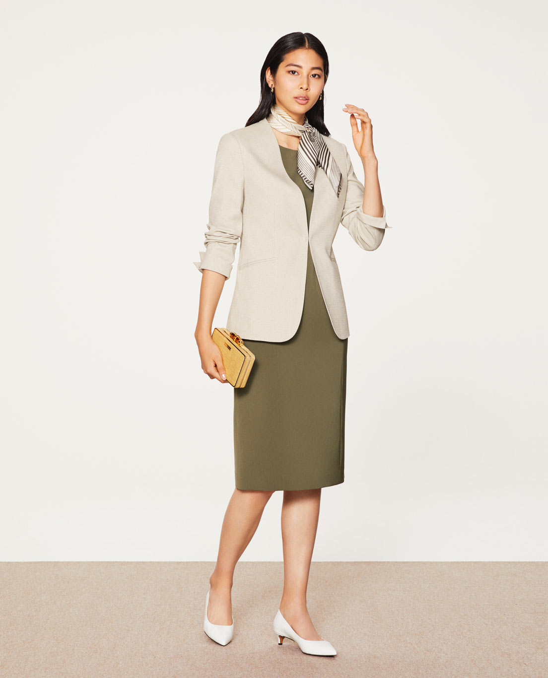COMFORT NO COLLAR JACKET: 5455 / WASHABLE / STRETCH / UV / DRY / COOL / NATURAL, DRESS: 5447 / WASHABLE / STRETCH / SILKY TOUCH / KHAKI