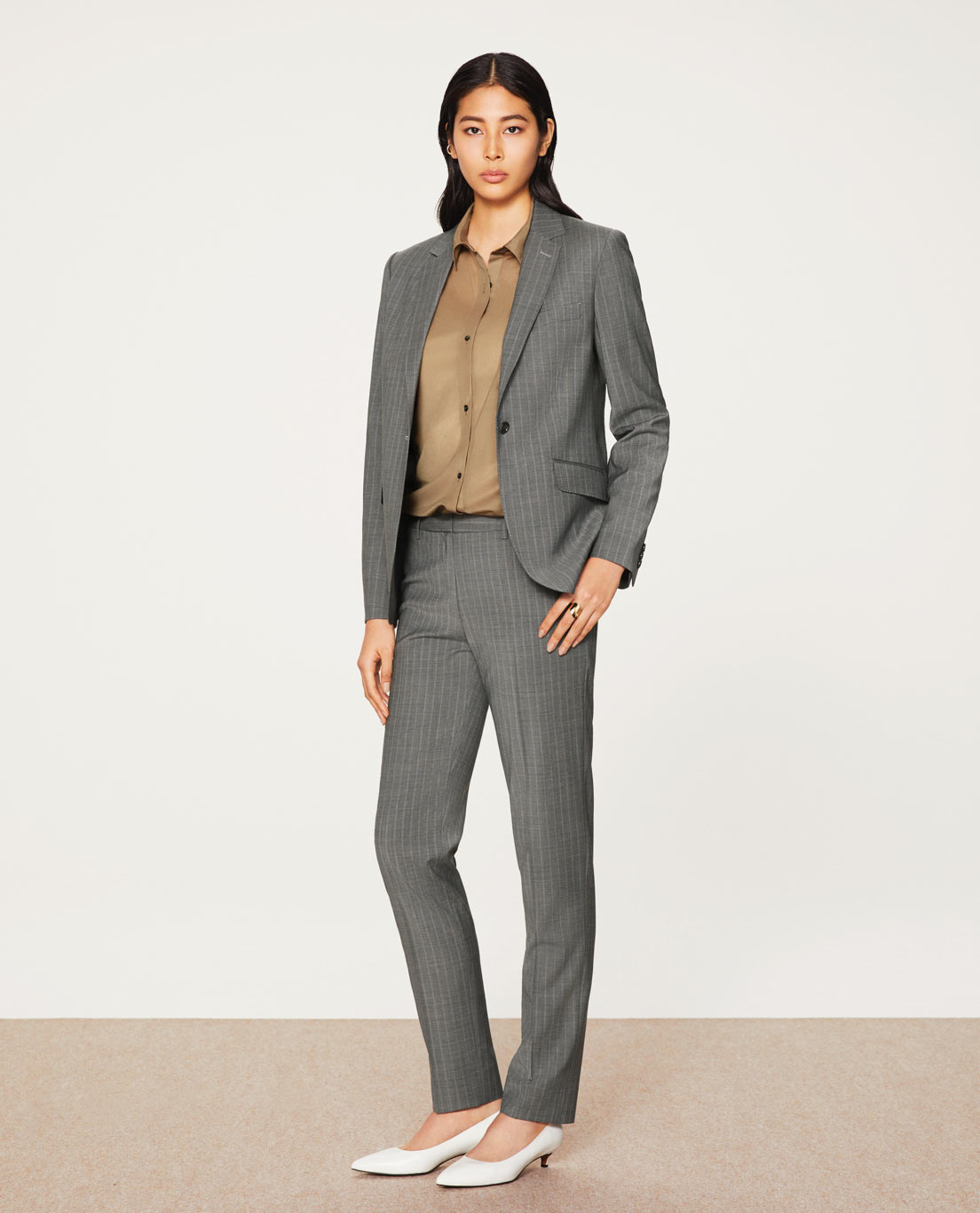 COMFORT TAILORED JACKET・TAPERED PANTS: 5504 / Grey Twin Stripe Tropical