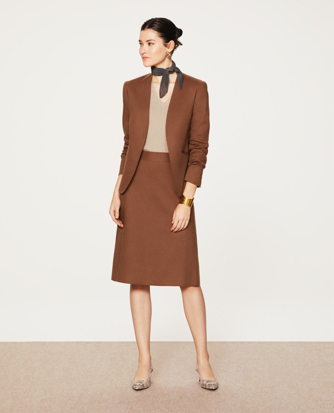 COMFORT NO COLLAR JACKET・ALINE SKIRT: 5457 / STRETCH / LINEN / VISCOSE / BROWN