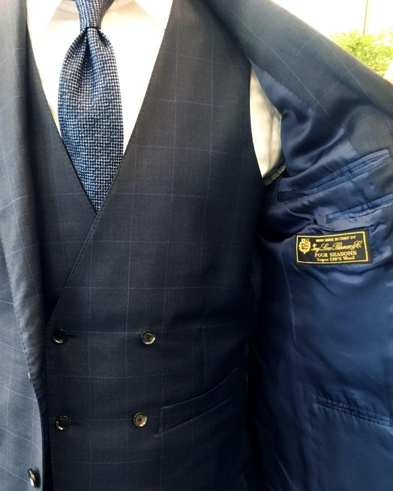 オーダースーツ, スーツ着こなし, ロロピアーナ, ネイビースーツ